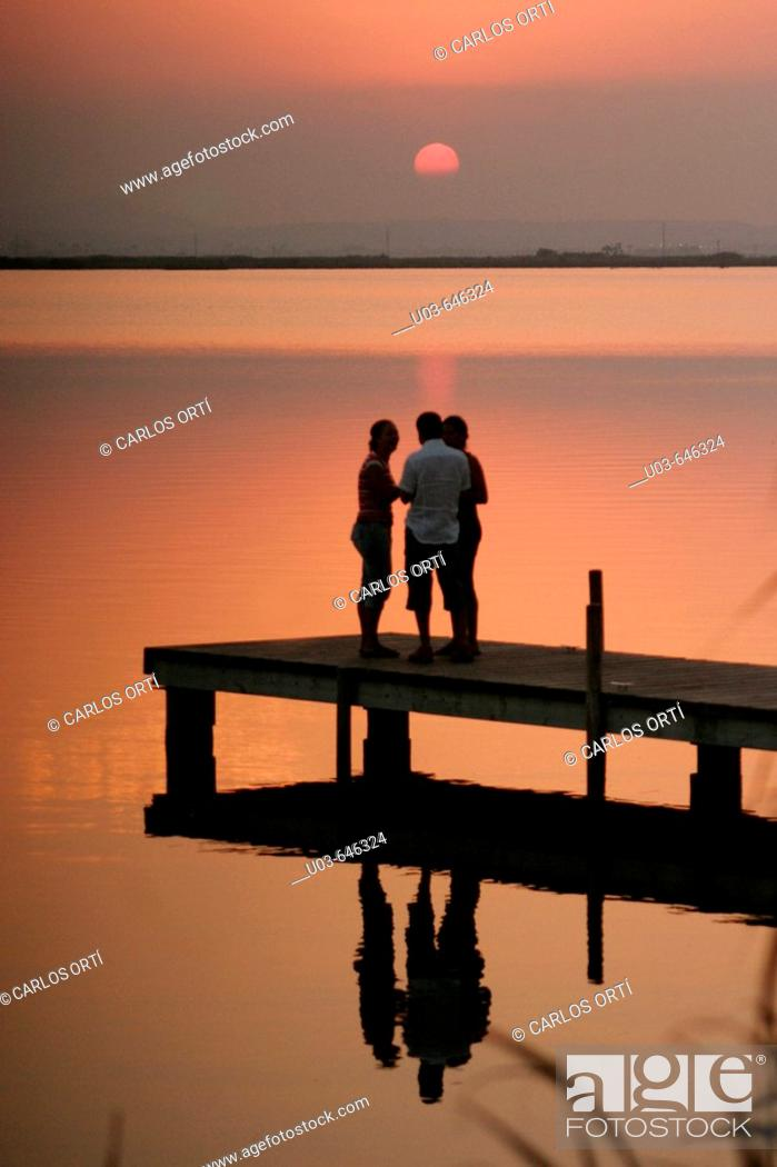 Stock Photo: Sunset. Nature reserve of La Albufera, Valencia, Spain.