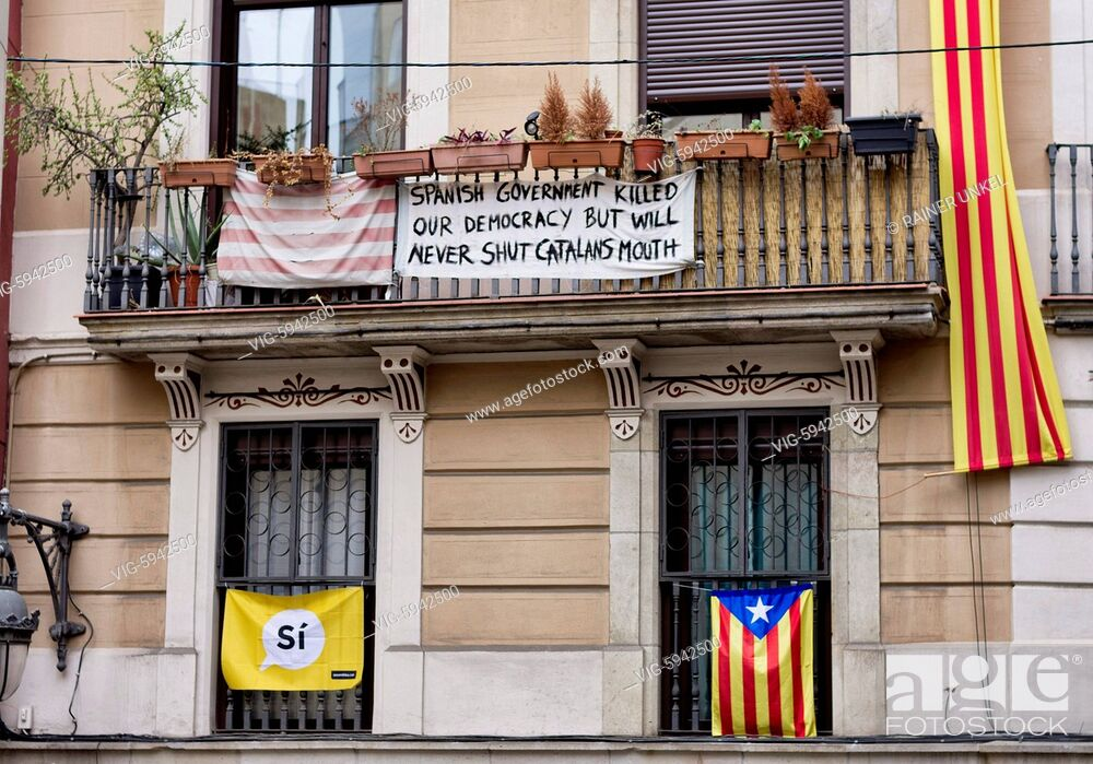 Imagen: ESP , SPAIN : The flags of Catalonia in Barcelona , 03.01.2018 - Barcelona, Catalonia, Spain, 03/01/2018.