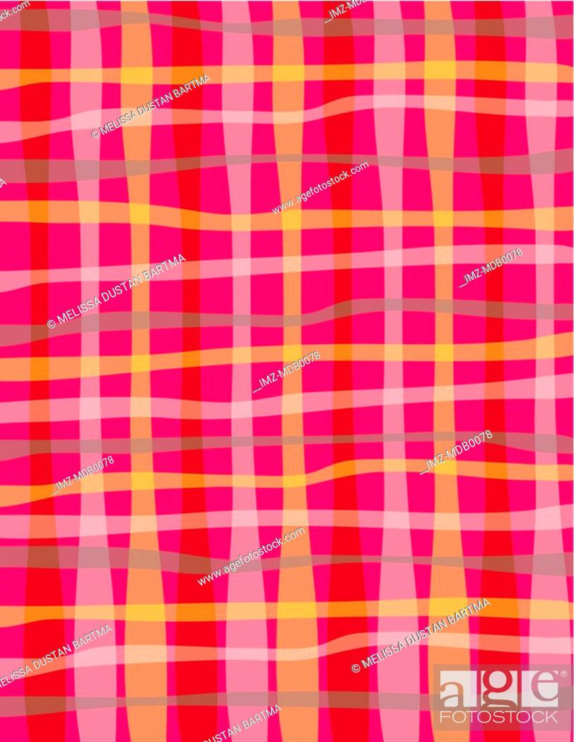 Stock Photo: A red, pink and gray wavy plaid pattern.