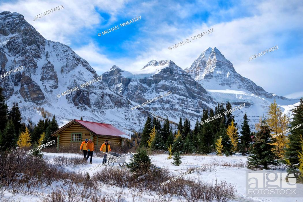 Stock Photo: Staff of Mount Assiniboine Lodge, Mount Assiniboine Provincial Park, British Columbia, Canada.