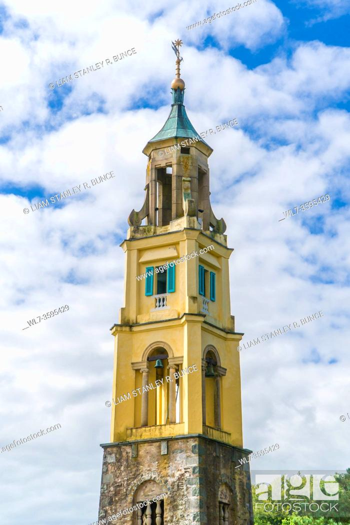 Stock Photo: Italianate bell tower, Portmeirion North Wales UK. August 2020.
