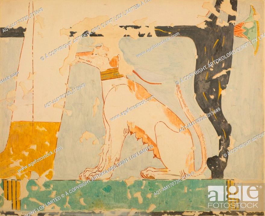 Stock Photo: Facsimile of a painting in the tomb of Nebamun: dog seated beneath Its owner's chair, New Kingdom, Dynasty 18, ca. 1479–1458 B.C.