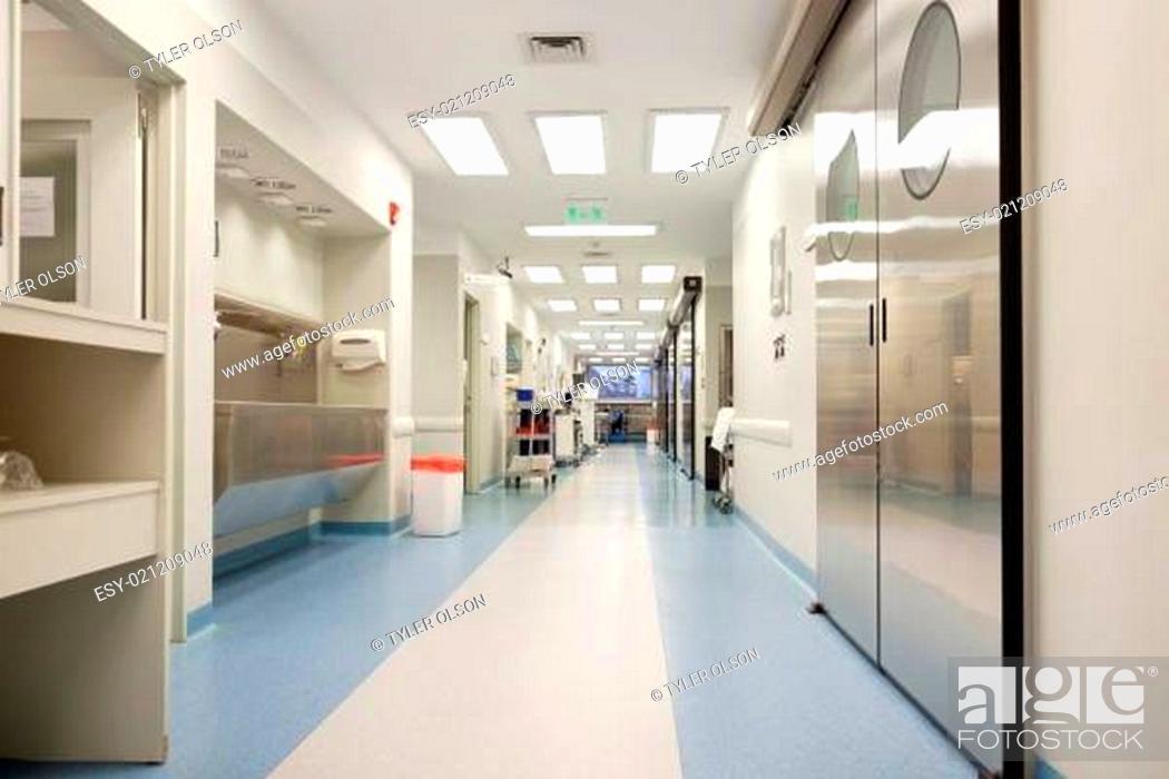 Stock Photo: Empty hospital corridor.