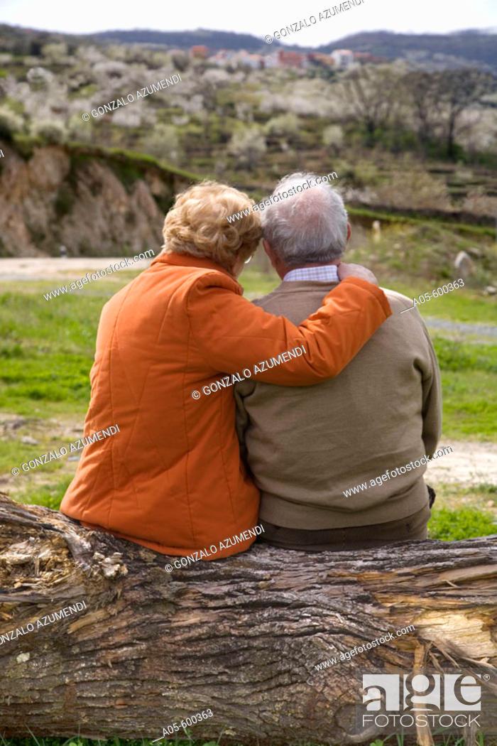 Stock Photo: Senior couple in loving attitude. Valle del Jerte. Cáceres province. Extremadura. Spain.