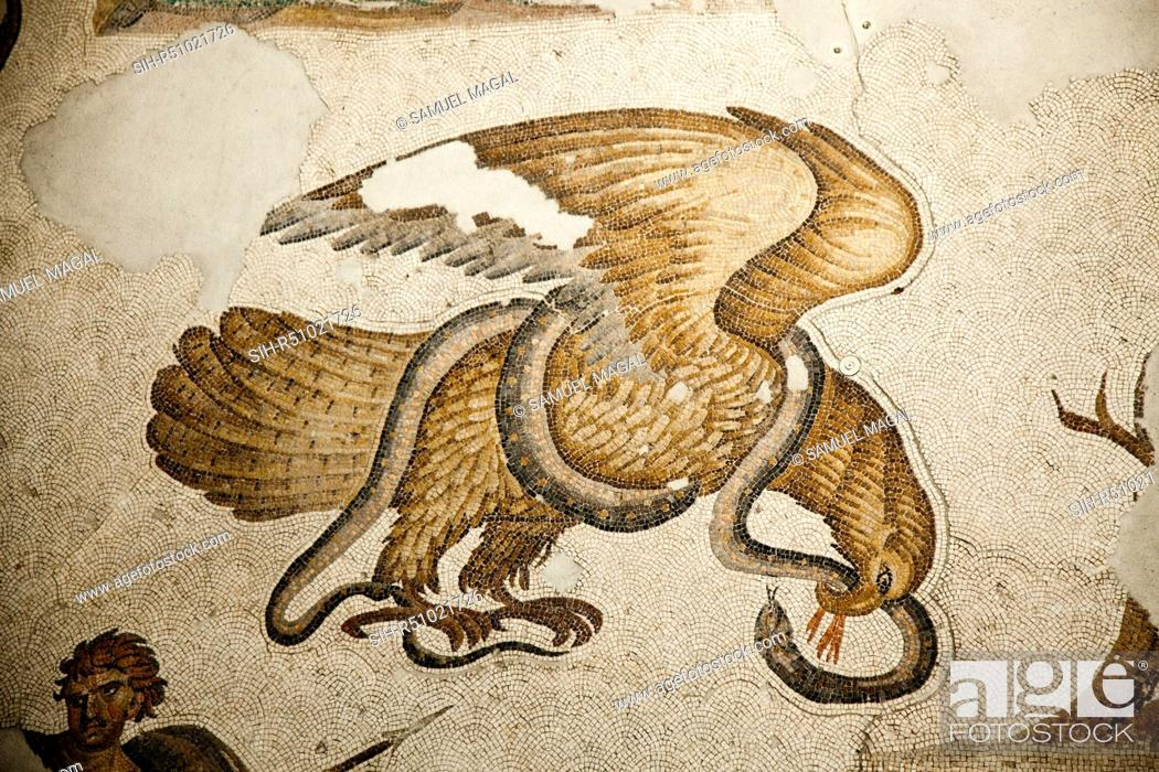 Stock Photo: The Mosaic, dated from the 6th Century, depicting a battle between the eagle and the serpent which was a frequent subject in ancient art.