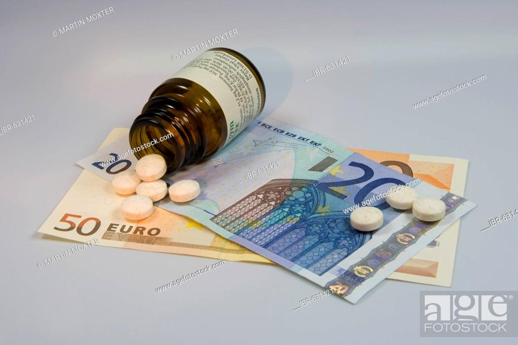 Stock Photo: Prescription drugs are getting more expensive: pills tumbling from pill bottle onto Euro notes.