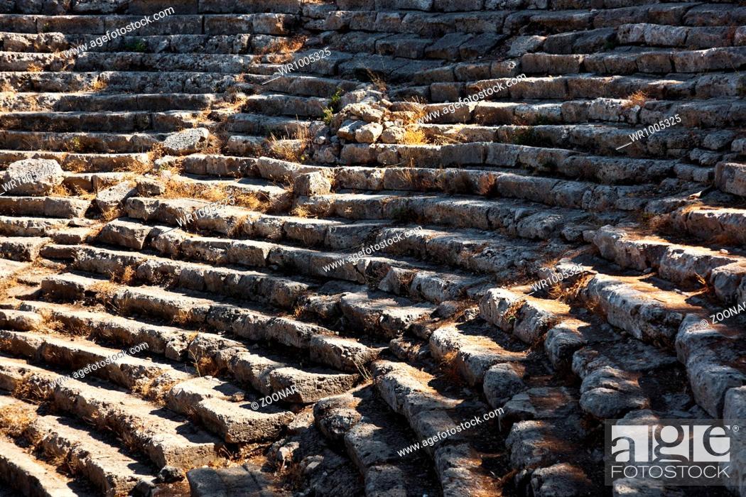 Stock Photo: Old amphitheater Phaselis in Antalya, Turkey.