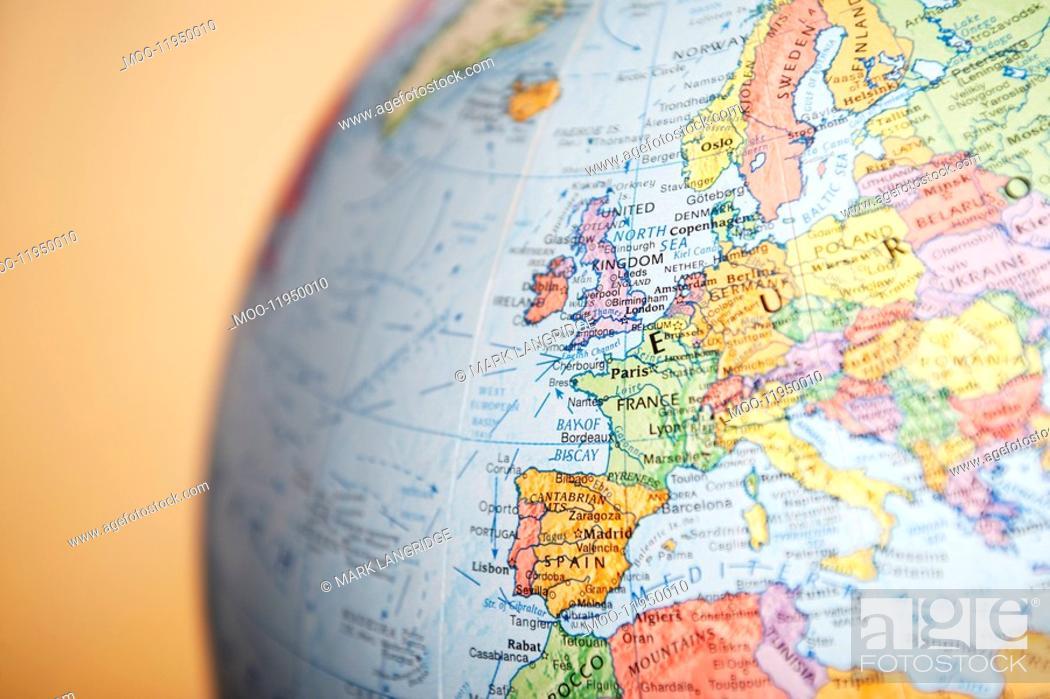 Stock Photo: Globe close-up on Europe.