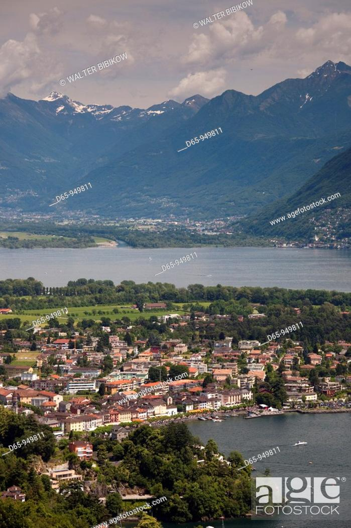 Stock Photo: Switzerland, Ticino, Lake Maggiore, Ascona, high angle distant town view.