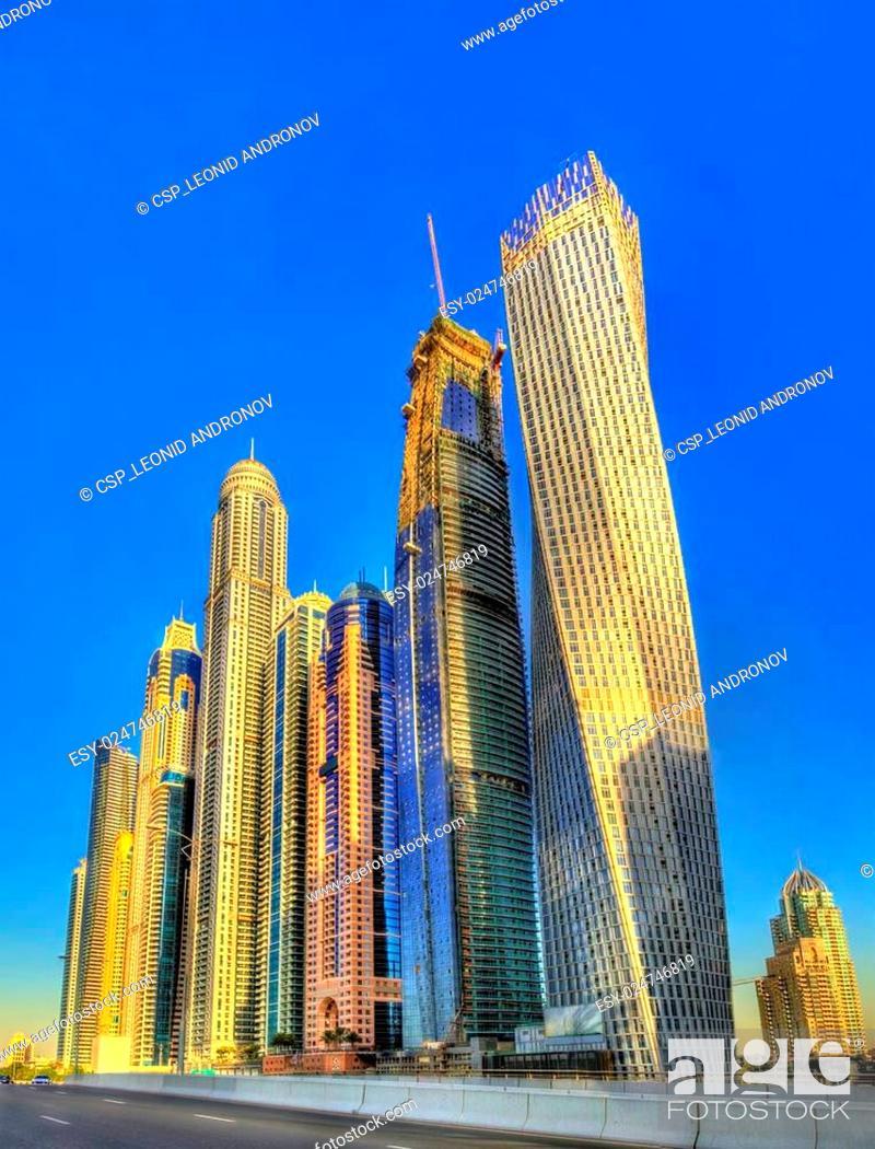 Stock Photo: Skyscrapers in the World's Tallest Tower Block - Jumeirah, Dubai.