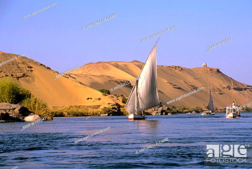 Stock Photo: egypt, assuan, nile, felucca.