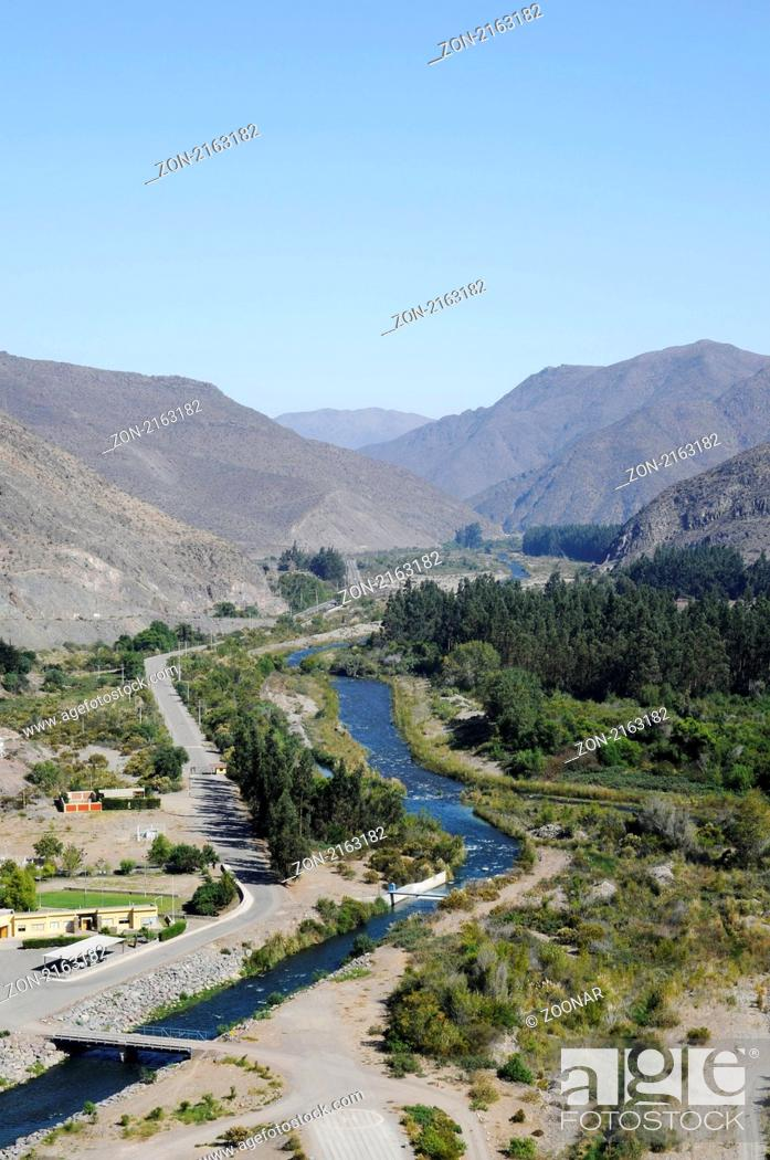 Stock Photo: Elqui River, Fluss, Vicuna, Valle d Elqui, Elqui Valley, Elqui Tal, Norte Chico, northern Chile, Nordchile, Chile, South America, Suedamerika.