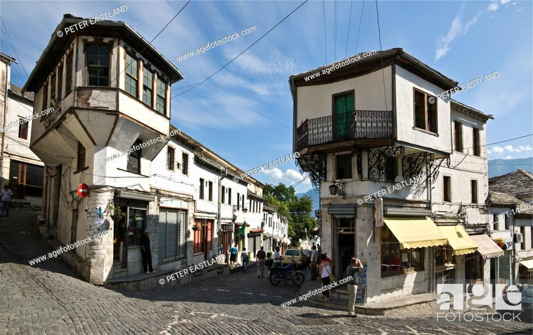 Stock Photo: In the centre of the bazaar area of Gjirokastra in southern Albania with its old ottoman influenced houses.