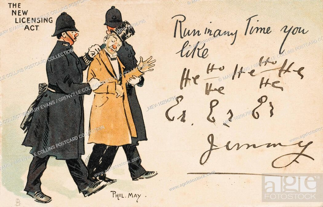 Stock Photo: Cartoon postcard by Phil May - 'The New Licensing Act' - two policemen escort a (once) smartly-dressed drunkard for a night in the cells to sober up! Under the.