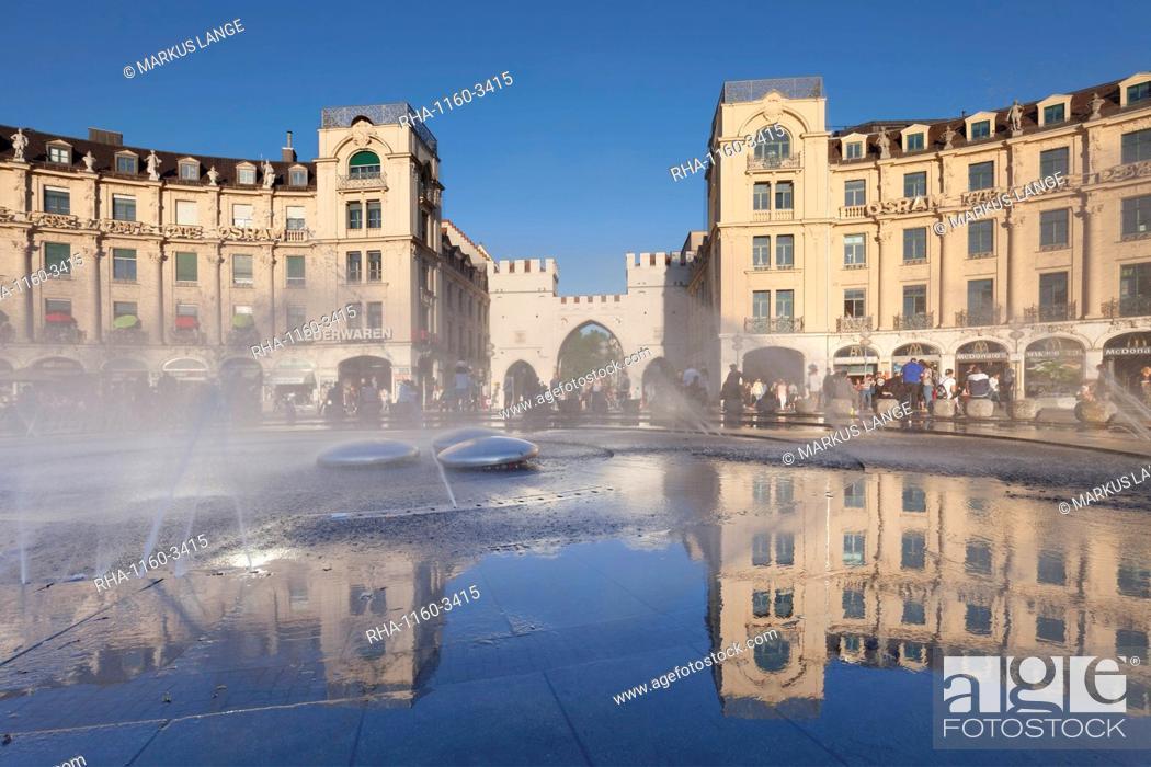 Stock Photo: Fountain at Karlsplatz Square, Stachus, Karlstor Gate, Munich, Bavaria, Germany, Europe.