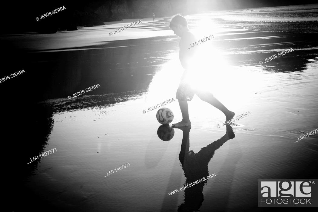 Stock Photo: Football in the Beach, Asturias, Spain.