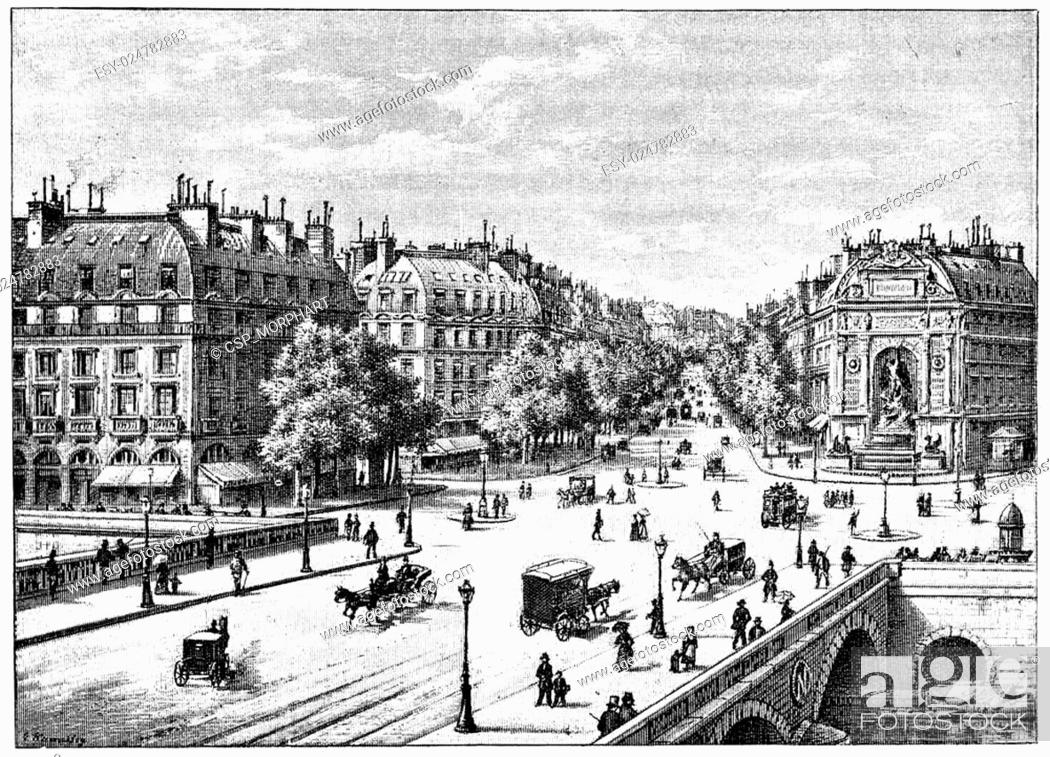 Stock Photo: The bridge, the square and the boulevard Saint-Michel, vintage engraving.