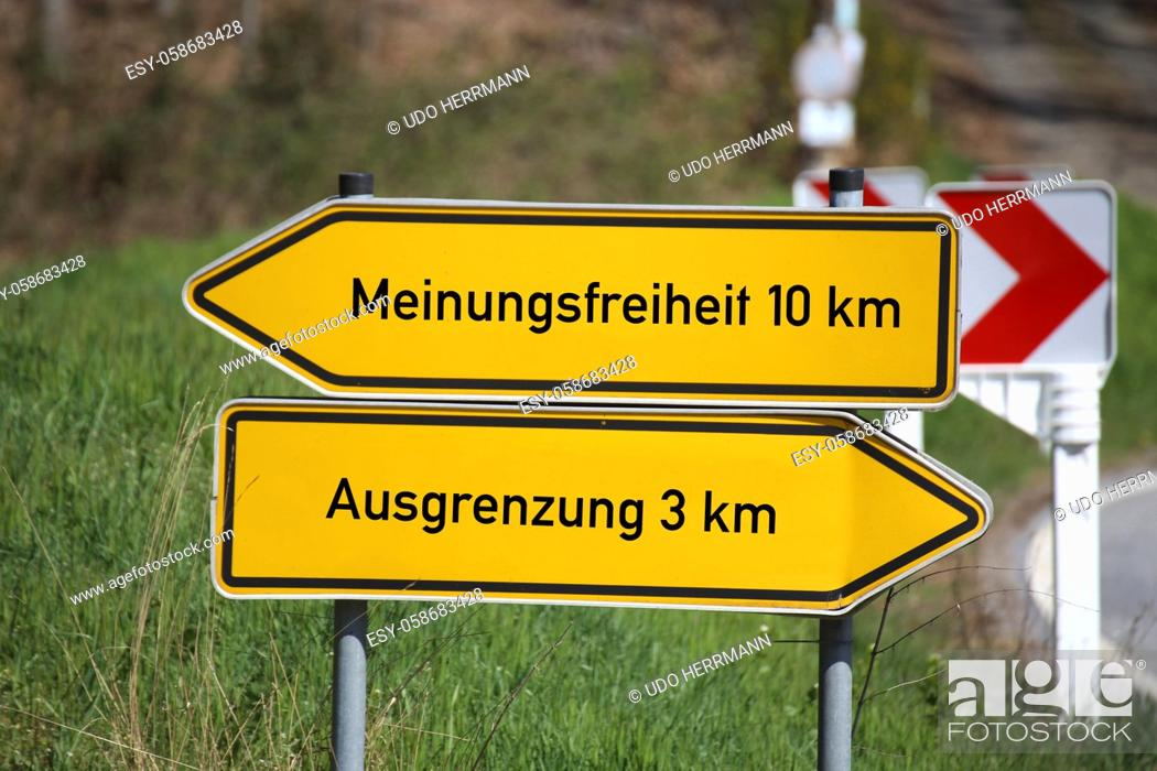 Stock Photo: Symbol image on the topic of freedom of expression, Germany. Signposts show the options freedom of expression and exclusion.
