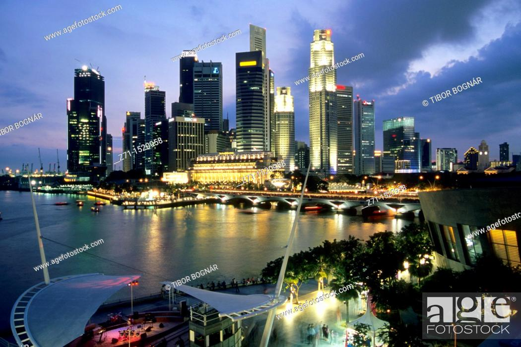 Stock Photo: Singapore, Central Business District skyline.