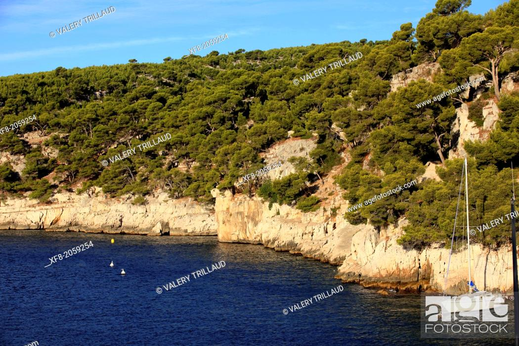 Stock Photo: The calanches of Port Miou near Cassis, Bouches du Rhône, 13, PACA, France.