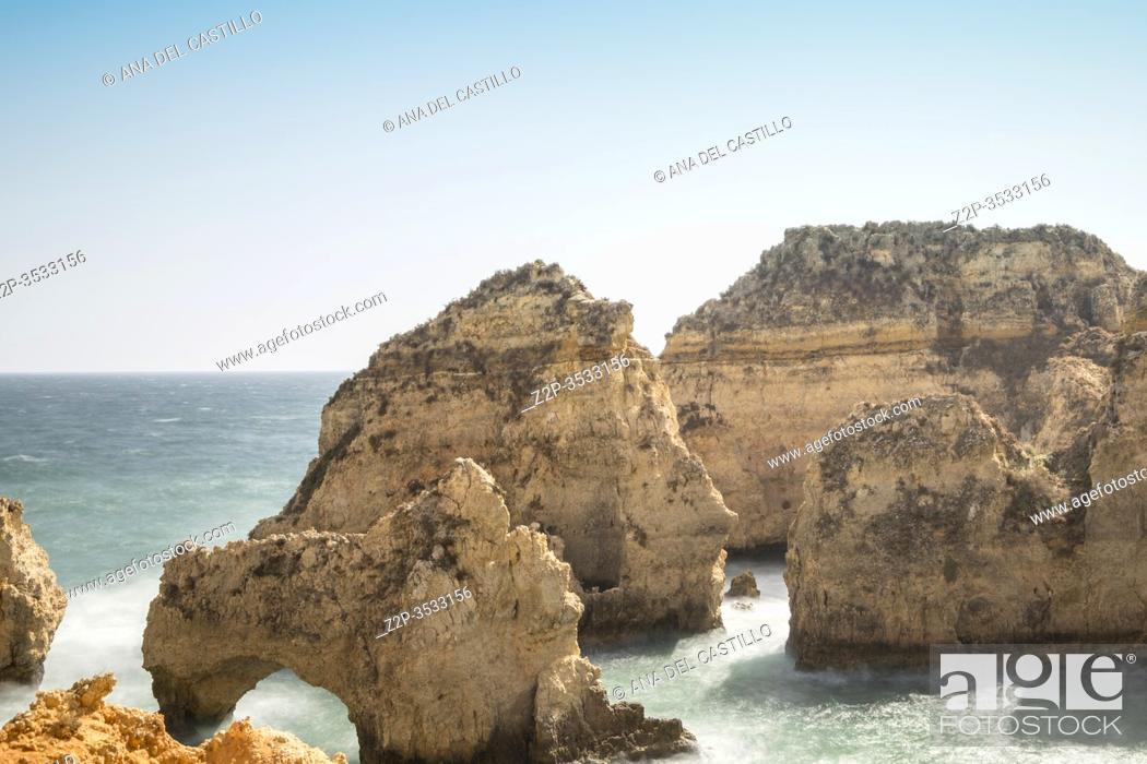 Stock Photo: Ponta da Piedade reef in Lagoa Algarve Portugal.