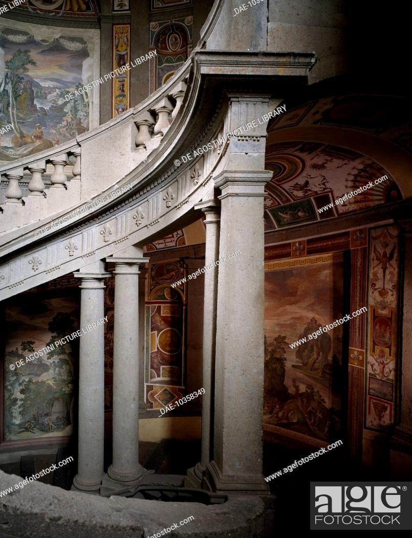 Stock Photo: The Scala Regia (Royal Staircase) of Palazzo Farnese, by Iacopo Barozzi known as Vignola (1507-1573), detail, Caprarola, Lazio, Italy.
