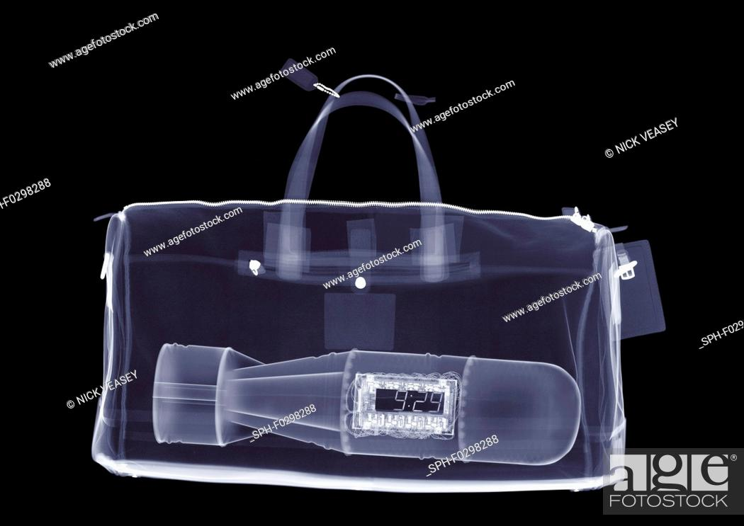 Stock Photo: Holdall with bomb, X-ray.