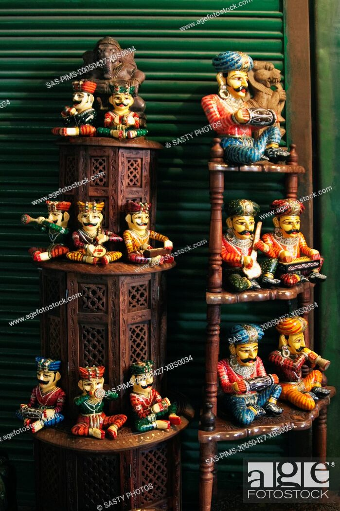 Stock Photo: Figurines at a market stall, Delhi, India.