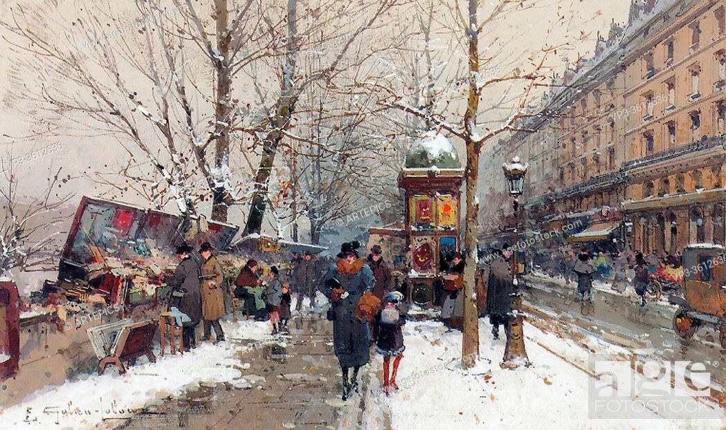 Stock Photo: Galien-Laloue Eugene - Bookstalls in Winter Paris - French School - 19th Century.