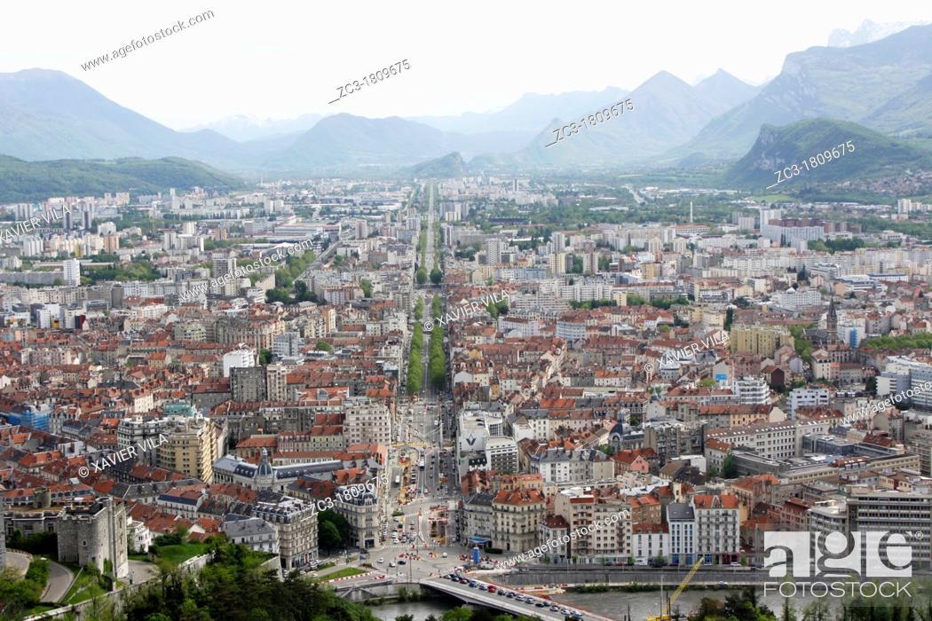 Stock Photo: City of Grenoble, Isère, Rhône-Alpes, France.