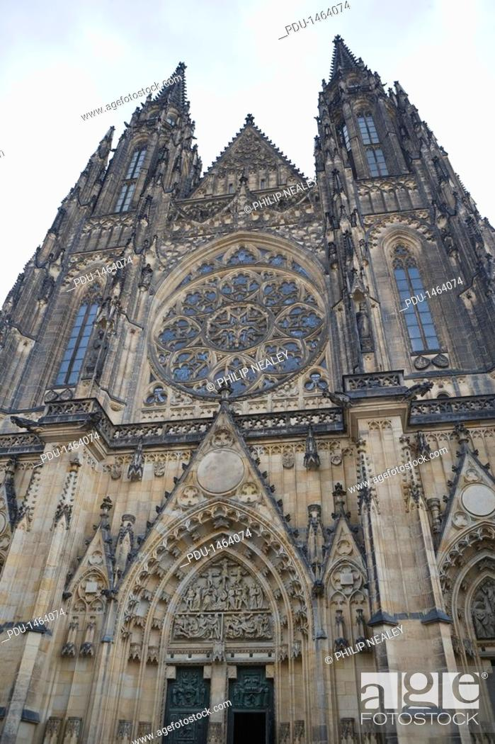 Stock Photo: Czech Republic, Prague, St Vitus Cathedral, low angle view.