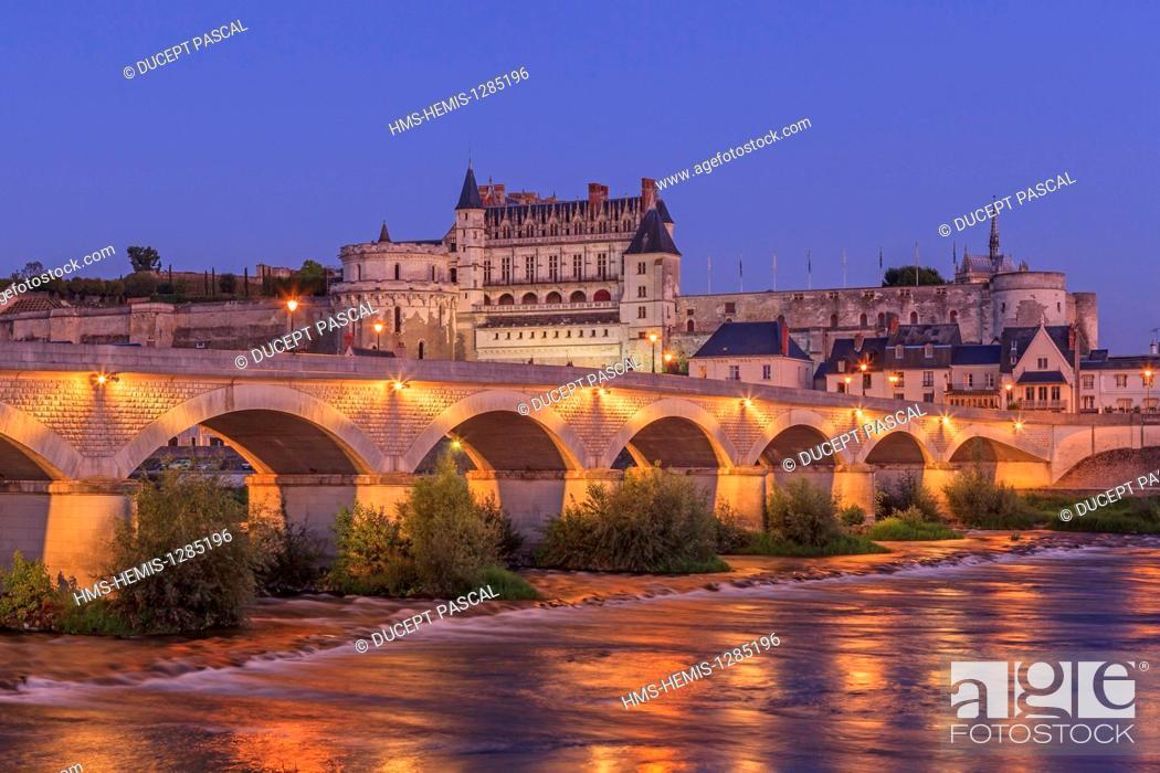 Stock Photo: France, Indre et Loire, Loire Valley listed as World Heritage by UNESCO, Amboise, Royal castle of Amboise, Loire river banks, General Leclerc bridge.