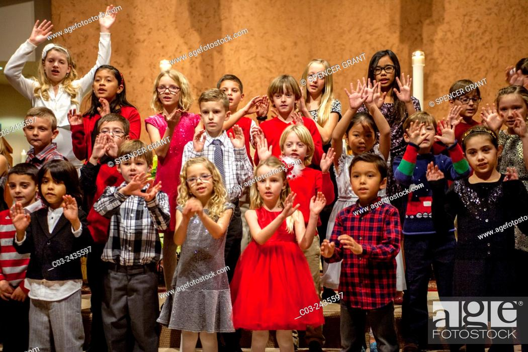 A Children S Choir Sings Christmas Carols At St Timothy S Catholic Church In Laguna Niguel Stock Photo Picture And Rights Managed Image Pic C03 2435597 Agefotostock