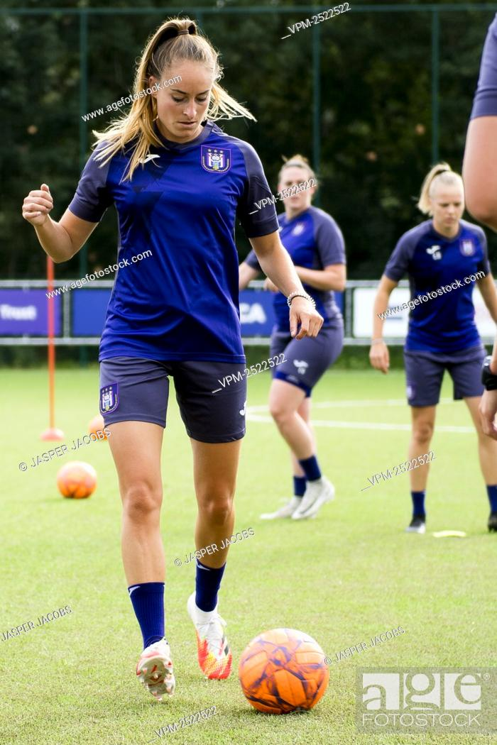 Stock Photo: Anderlecht new player Tessa Wullaert pictured in action during a training session of RSC Anderlecht Women, Tuesday 28 July 2020 in Brussels.
