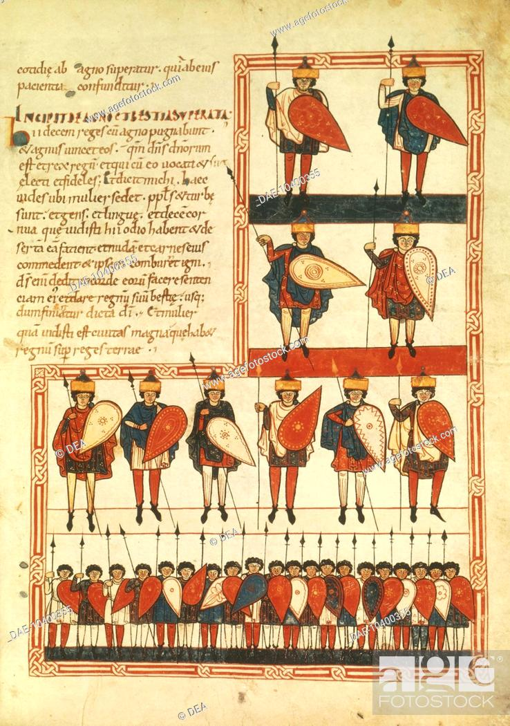 Stock Photo: Crowning of the ten kings, and their soldiers, miniature from the Apocalypse of the Saint Sever (Saint Sever Beatus), Latin manuscript, folio 193.