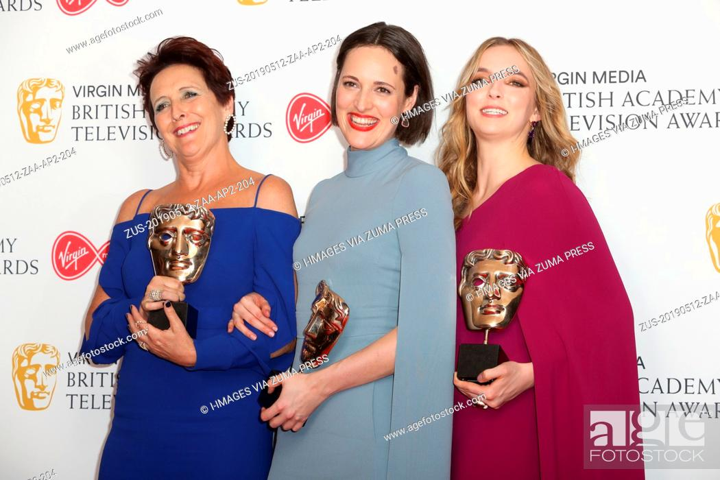 Stock Photo: May 12, 2019 - London, London, United Kingdom - Image licensed to i-Images. London. Fiona Shaw , Phoebe Waller -Bridge and Jodie Comer with their awards for.