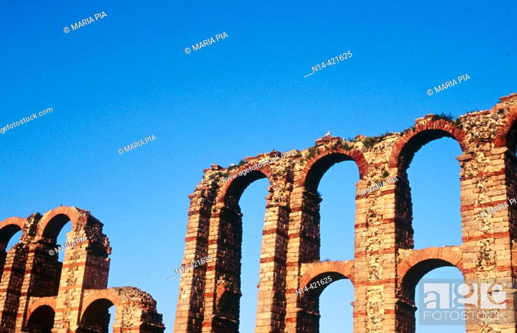 Stock Photo: Detail of Los Milagros aqueduct, Mérida. Cáceres province, Spain.