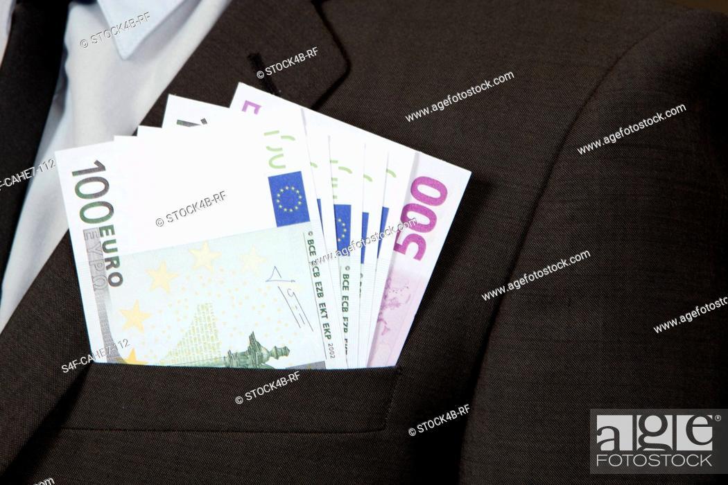 Stock Photo: Jacket pocket with Euro notes.