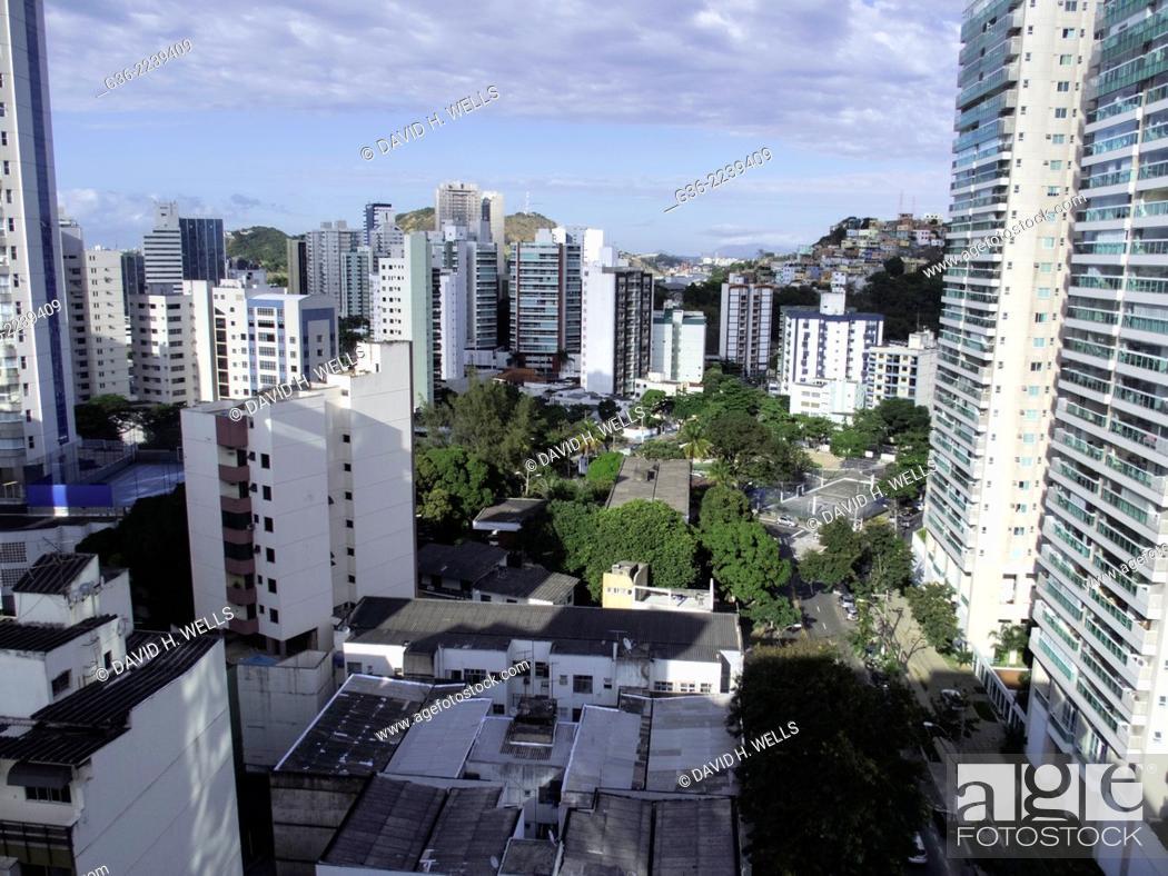 Stock Photo: Modern apartment buildings at Vitoria, Espirito Santo, Brazil.
