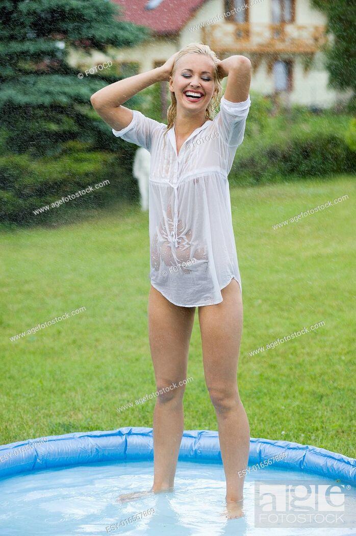 Wet shirt teen