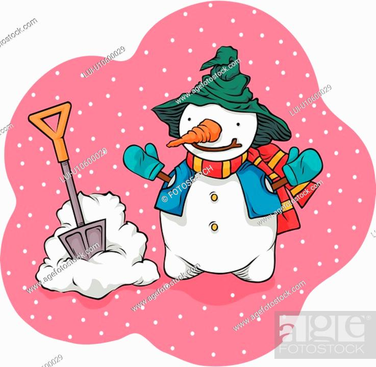 Stock Photo: scarf, outdoors, gloves, hat, shovel, snow-covered.