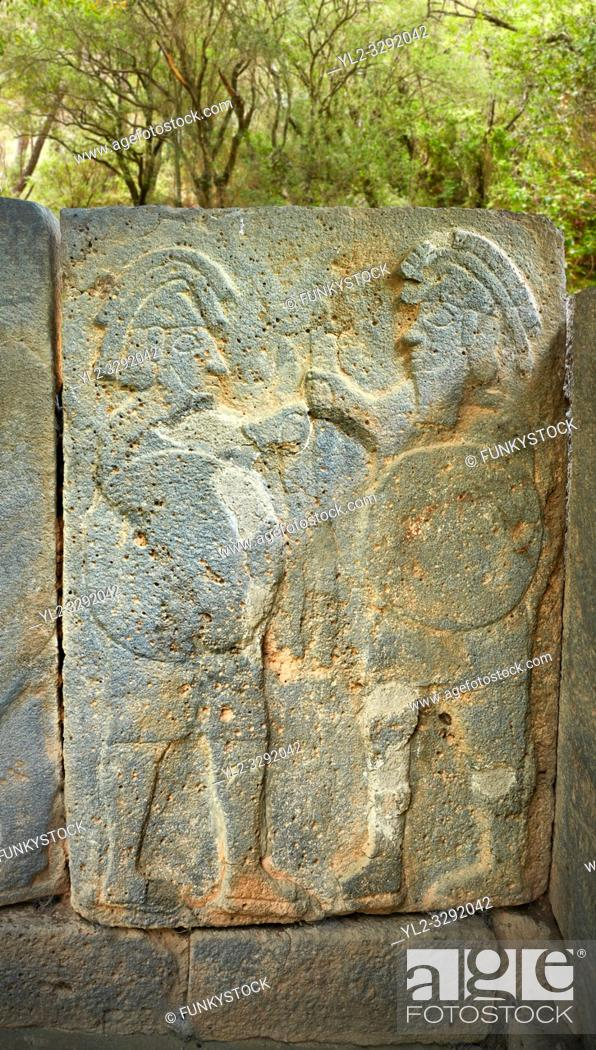 Stock Photo: Pictures & images of the North Gate Hittite sculpture stele depicting Hittite Gods. 8th century BC. Karatepe Aslantas Open-Air Museum (Karatepe-AslantaŠŸ Açık.