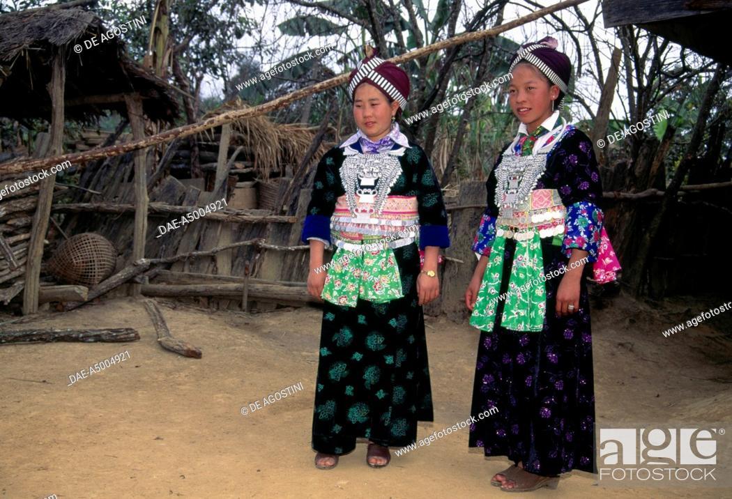 Stock Photo: Hmong women in traditional dress, Plain of Jars, Laos.