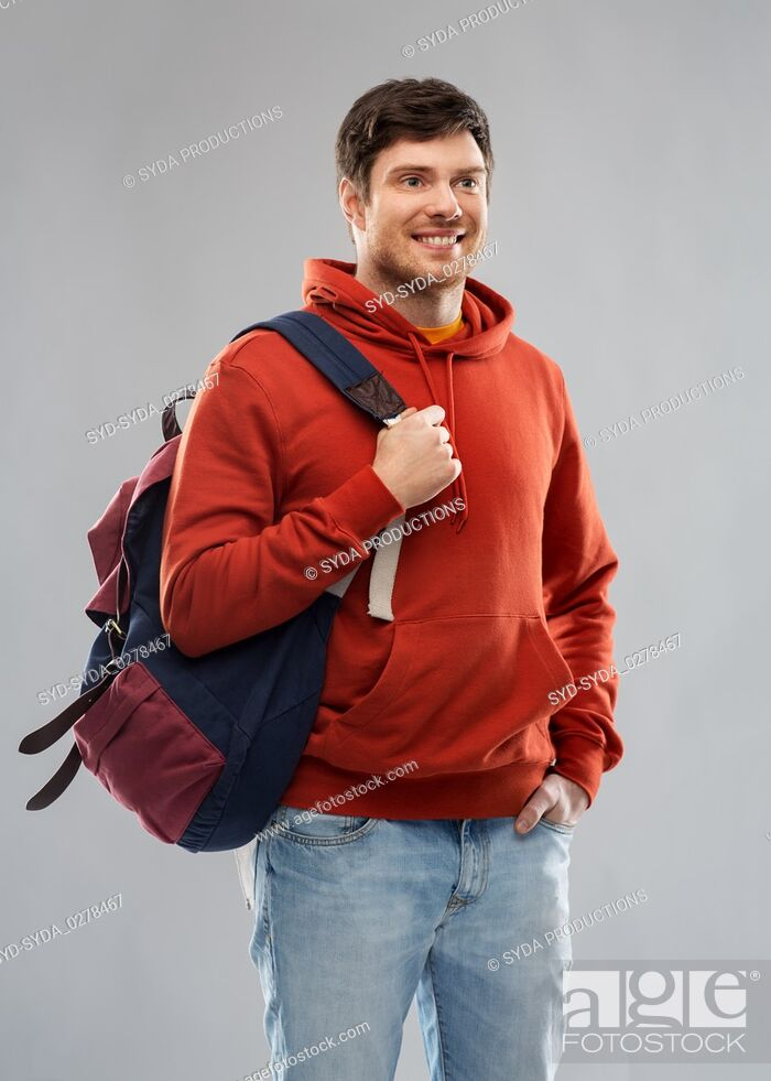 Stock Photo: young man or student with school bag or backpack.
