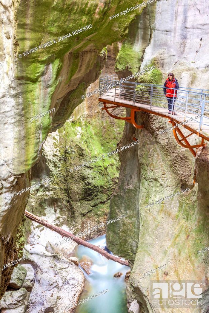 Stock Photo: Les Gorges du Fier near Annecy village, Haute-Savoie, Rhône-Alpes, France.