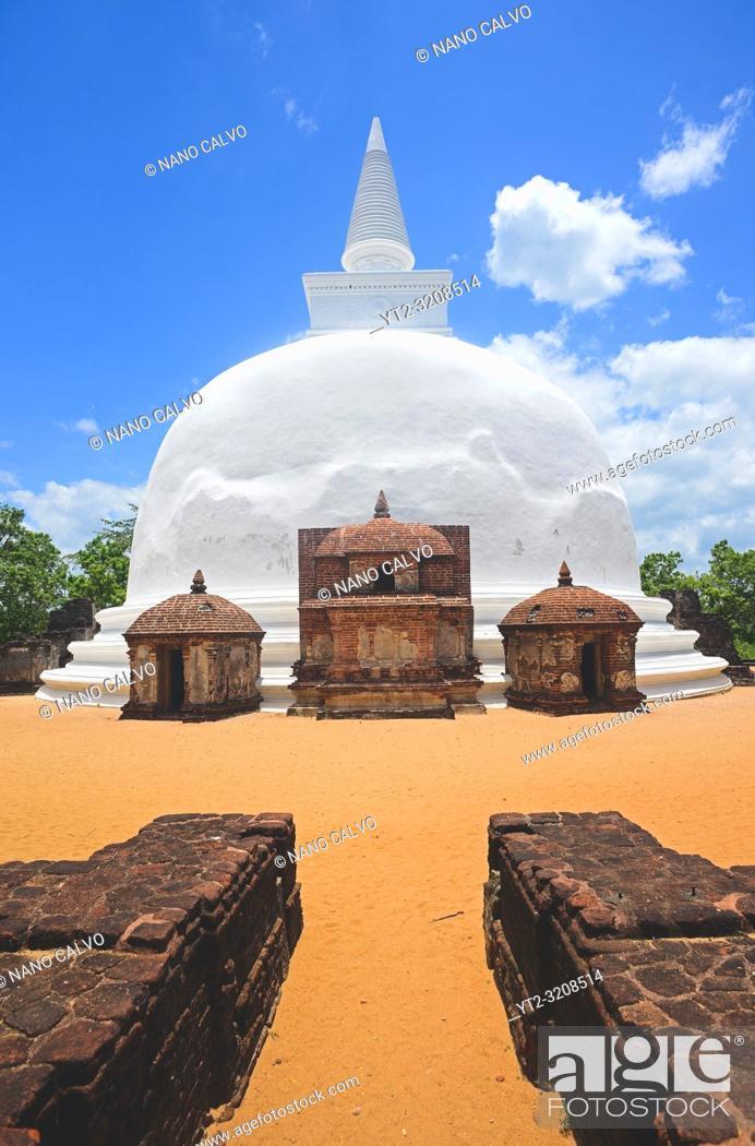 Stock Photo: Dagaba Kiri Vihara, built in honour of the king`s queen, in The Ancient City Polonnaruwa, Sri Lanka.
