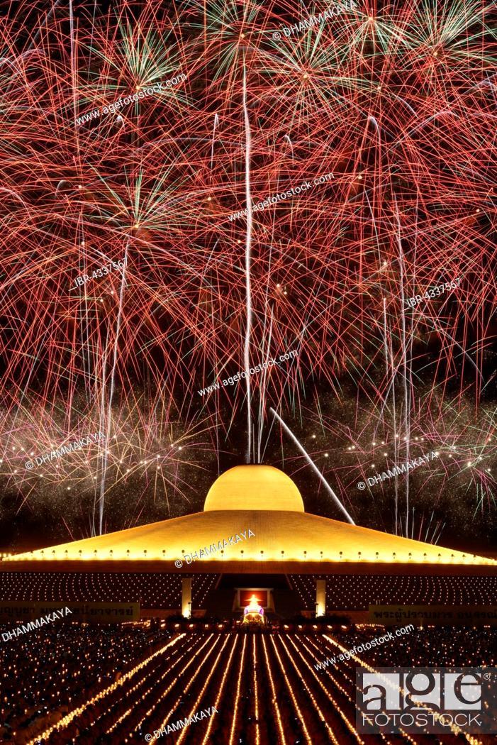 Fireworks At Wat Phra Dhammakaya Chedi Mahadhammakaya Cetiya
