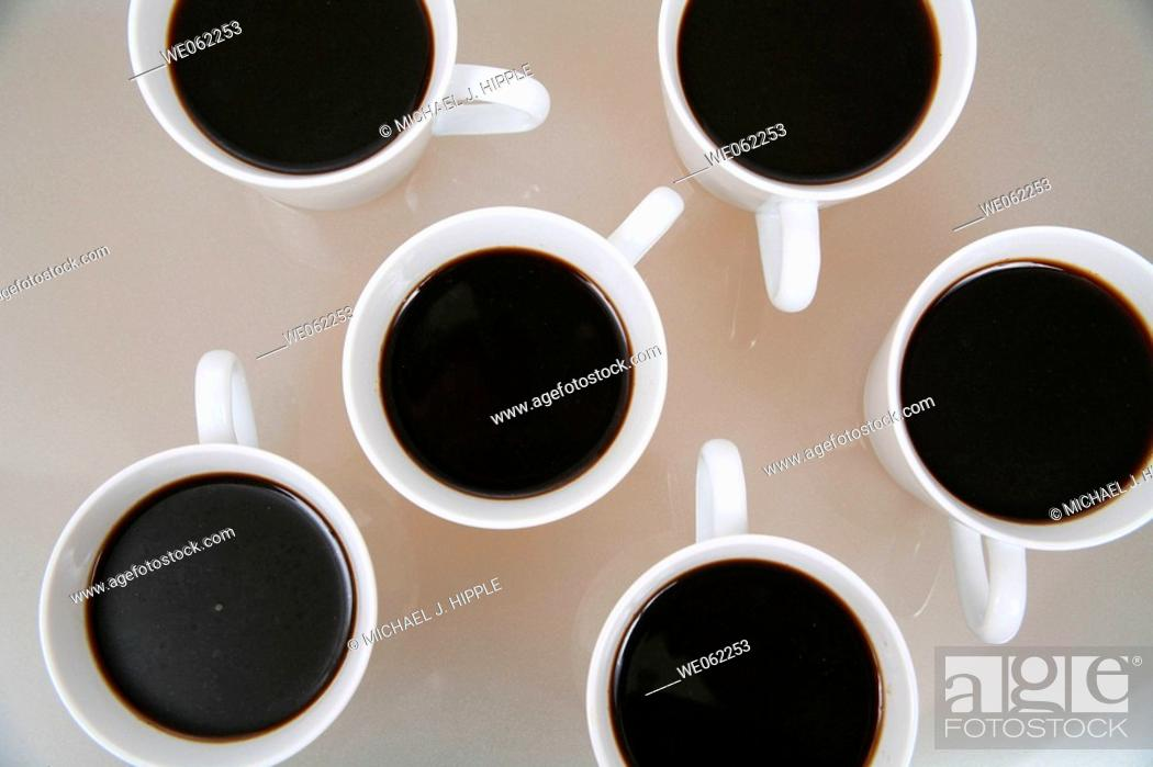 Stock Photo: Several cups of coffee.