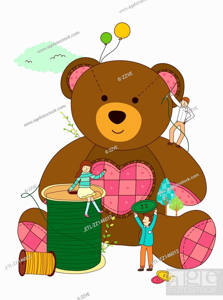 Stock Photo: Bear and children.
