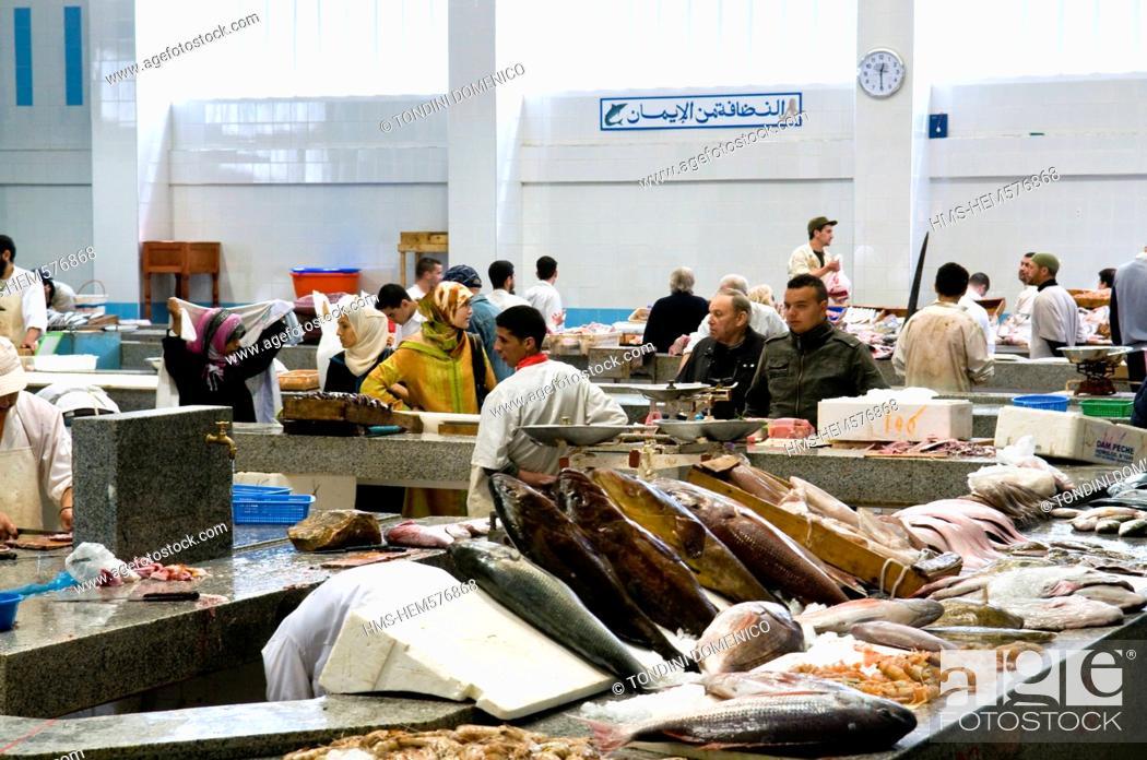 Stock Photo: Morocco, Tangier Tetouan Region, Tangier, market at the Grand Socco the great souk.